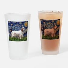 Starry Night Clumber Spaniel Drinking Glass