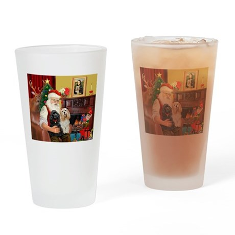 Santa's 2 Cockers Drinking Glass