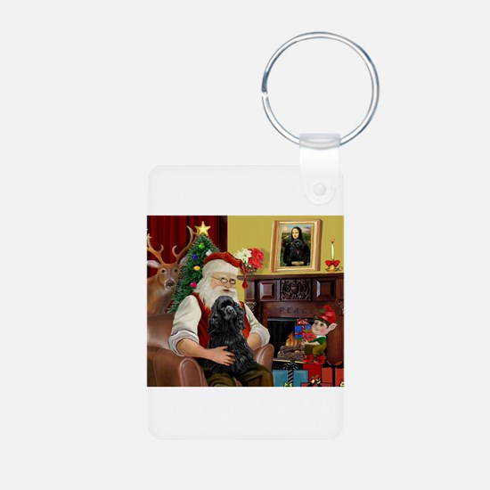 Santa's Black Cocker Keychains