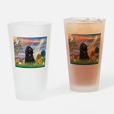 Cloud Angel/Black Cocker Drinking Glass