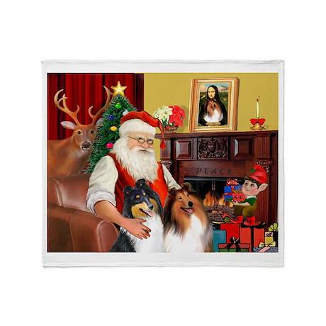 Santa's Collie pair Throw Blanket