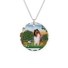 Appletrees / Collie (s) Necklace Circle Charm