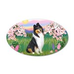 Blossoms / Collie (tri) 22x14 Oval Wall Peel