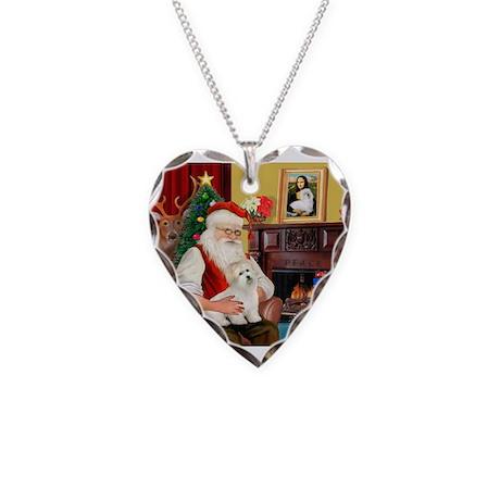 Santa's Coton de Tulear Necklace Heart Charm