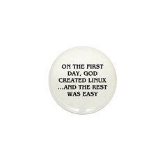 God created Linux Mini Button (10 pack)