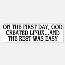 God created Linux Bumper Bumper Sticker