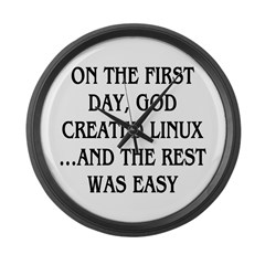 God created Linux Large Wall Clock