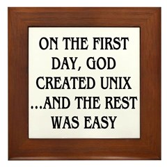 God created UNIX Framed Tile