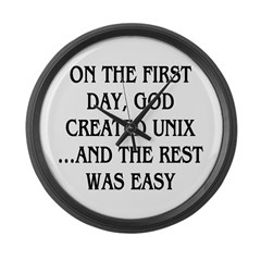 God created UNIX Large Wall Clock