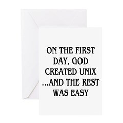 God created UNIX Greeting Card