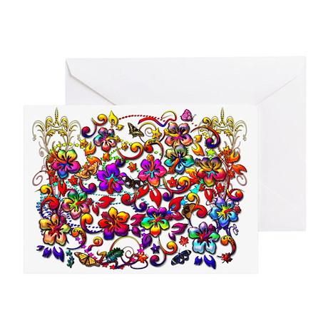 Digital Hibiscus Floral Patte Greeting Card