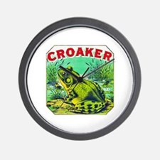 Croaker Frog Cigar Label Wall Clock