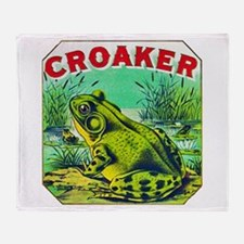Croaker Frog Cigar Label Throw Blanket