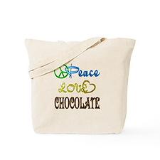 Chocolate Peace Love Tote Bag