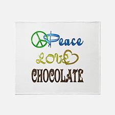 Chocolate Peace Love Throw Blanket