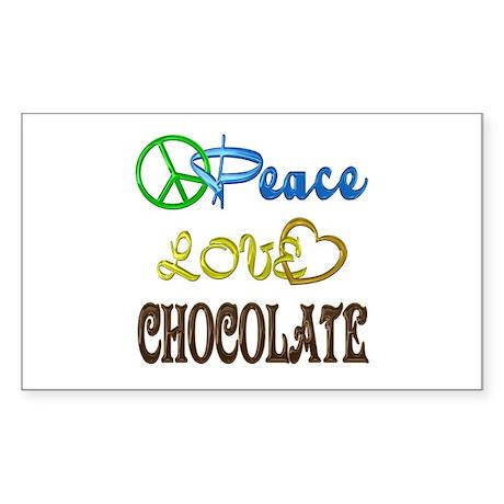 Chocolate Peace Love Sticker (Rectangle)