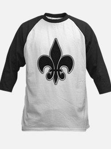 Saints Black Grey Fleur Kids Baseball Jersey