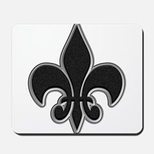 Saints Black Grey Fleur Mousepad