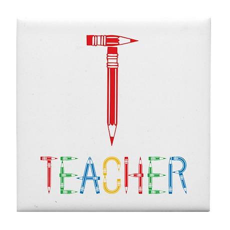 Pencils Teacher Tile Coaster