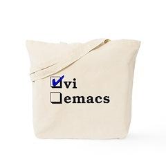 vi vs emacs -- vi Tote Bag