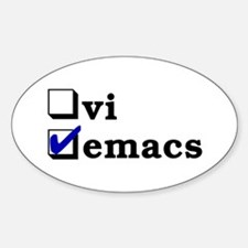 vi vs emacs -- emacs Sticker (Oval)