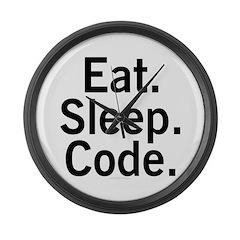 Eat. Sleep. Code. Large Wall Clock
