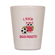 Owl with soccer ball with say Shot Glass
