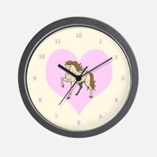 Horse and Pale Pink Heart Wall Clock