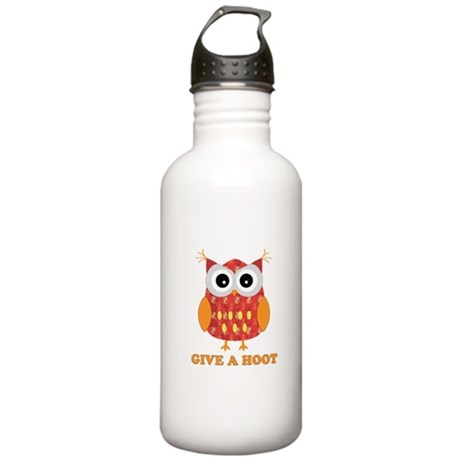 Reddish owl with saying Give Stainless Water Bottl