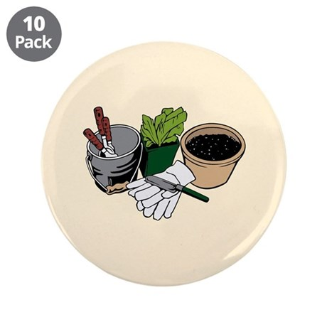 """Gardening 3.5"""" Button (10 pack)"""