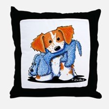 Dog Eat Dog Brittany Throw Pillow
