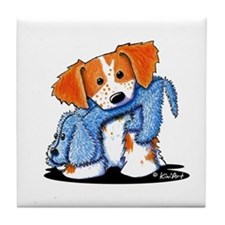Dog Eat Dog Brittany Tile Coaster