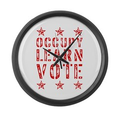 occupy learn vote red Large Wall Clock