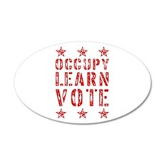 occupy learn vote red 22x14 Oval Wall Peel