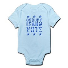 occupy learn vote blue Infant Bodysuit