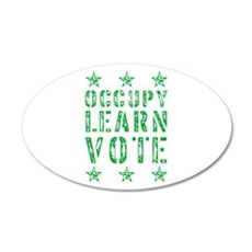 occupy learn vote green 22x14 Oval Wall Peel