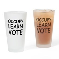 OCCUPY LEARN VOTE Drinking Glass