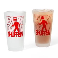 Every Shufflin Red Blockhead Drinking Glass