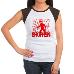 Every Shufflin Red Blockhead Women's Cap Sleeve T-