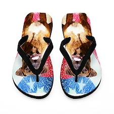 Patriotic Boxer dog Flip Flops