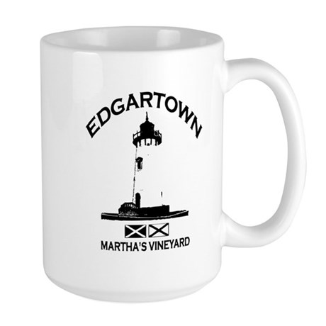 Edgartown MA - Lighthouse Design. Large Mug