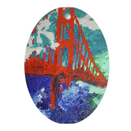 Oval Ornament of San Francisco Golden Gate Bridge
