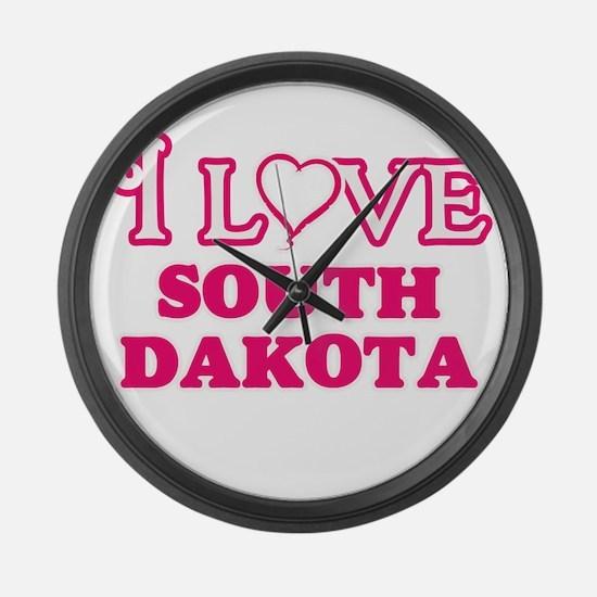 I love South Dakota Large Wall Clock