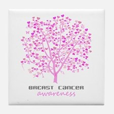 Breast Cancer Awareness Tree Tile Coaster