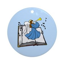 Angel and Book Ornament (Round)