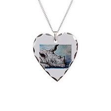 Rhino, wildlife art, Necklace Heart Charm