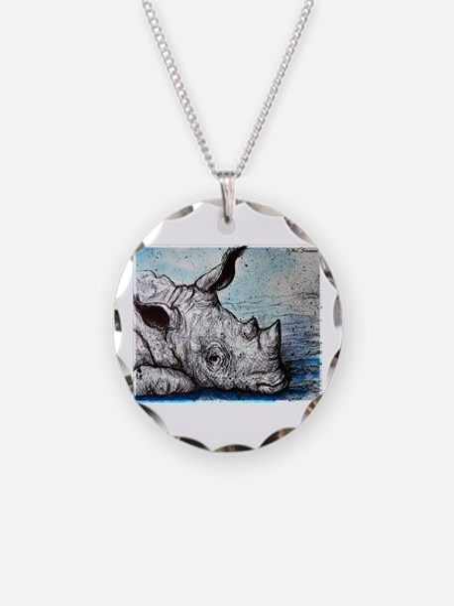 Rhino, wildlife art, Necklace Circle Charm