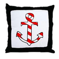 'Candy Stripe Anchor' Throw Pillow