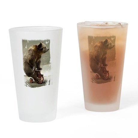 Funny Bear On Tricycle Drinking Glass