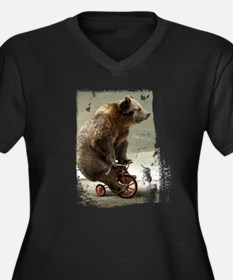 Funny Bear On Tricycle Women's Plus Size V-Neck Da